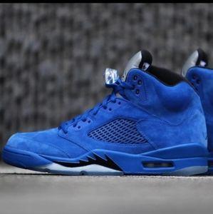 Nike Air Jordan 5 Retro Blue Suede shoes kaws 11